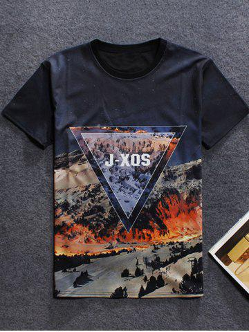 Fashion 3D Mountain Printed Round Neck Short Sleeve T-Shirt For Men
