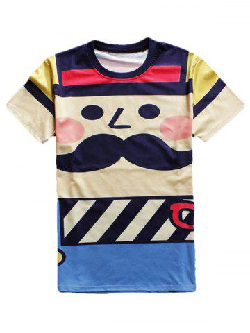 Cartoon Print Round Neck Short Sleeve T-Shirt For Men - Colormix - S