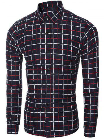 Fashion Slim Fit Turn-Down Collar Long Sleeve Checked Shirt For Men RED XL
