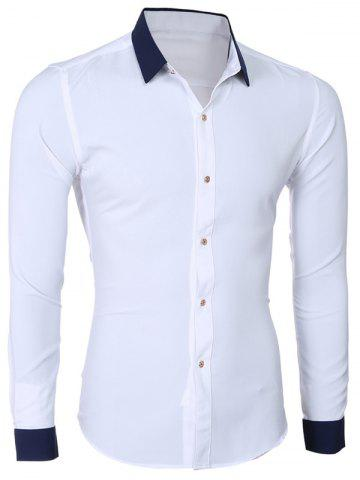 Trendy Fashion Hit Color Turn-Down Collar Long Sleeve Shirt For Men WHITE 2XL