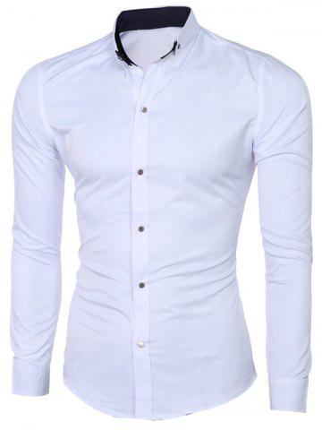 Discount Classic Button-Down Collar Long Sleeve Solid White Shirt For Men