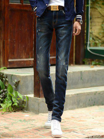 Chic Dark Wash Slim-Fit Pencil Jeans For Men
