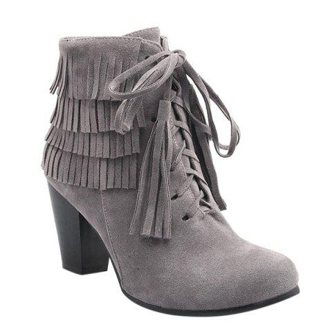Unique Trendy Tie Up and Tassels Design Ankle Boots For Women - 39 GRAY Mobile