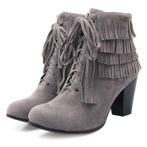 Best Trendy Tie Up and Tassels Design Ankle Boots For Women - 39 GRAY Mobile
