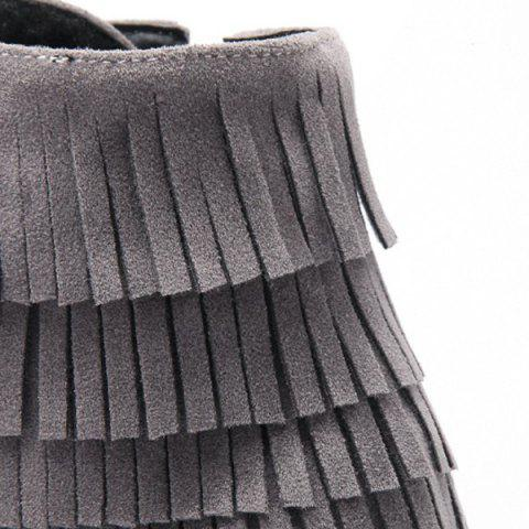 Outfits Trendy Tie Up and Tassels Design Ankle Boots For Women - 39 GRAY Mobile