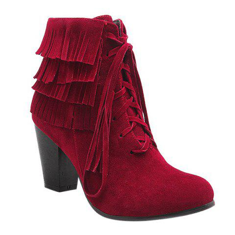 Trendy Tie Up and Tassels Design Ankle Boots For Women - Deep Red - 38