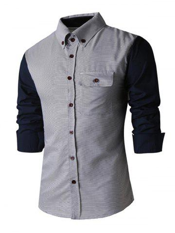 Chic Classic Spliced Turn-Down Collar Long Sleeve Shirt For Men