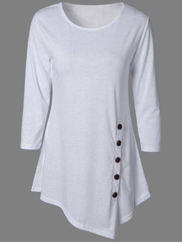 Buy Pure Color Button Asymmetric Blouse WHITE XL