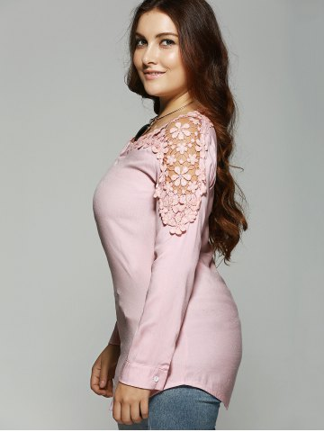 Buy Plus Size Lace Hollow Out  Blouse - 4XL PINK Mobile