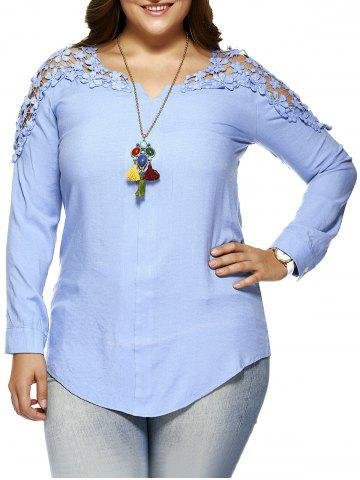 Store Plus Size Lace Hollow Out  Blouse - L LIGHT BLUE Mobile