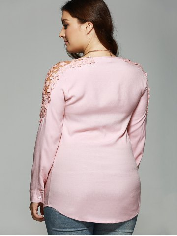 Outfit Plus Size Lace Hollow Out  Blouse - XL PINK Mobile