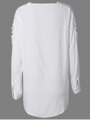 New Plus Size Lace Hollow Out  Blouse - 2XL WHITE Mobile