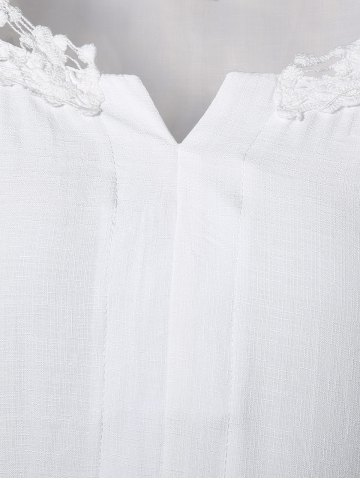 Hot Plus Size Lace Hollow Out  Blouse - L WHITE Mobile