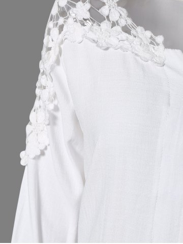 New Plus Size Lace Hollow Out  Blouse - 4XL WHITE Mobile