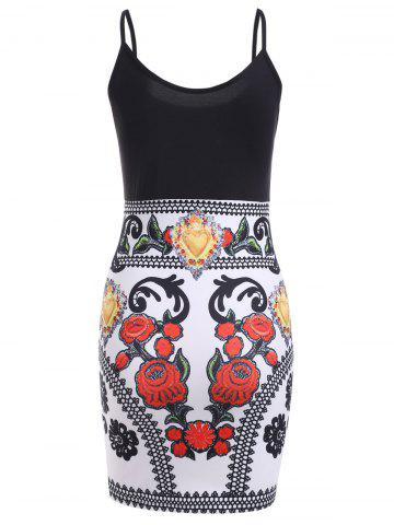 Outfits Color Block Floral Sleeveless Mini Bodycon Dress - L BLACK AND WHITE AND RED Mobile