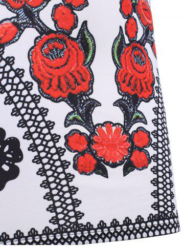 Outfit Color Block Floral Sleeveless Mini Bodycon Dress - L BLACK AND WHITE AND RED Mobile