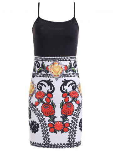 Discount Color Block Floral Sleeveless Mini Bodycon Dress - L BLACK AND WHITE AND RED Mobile