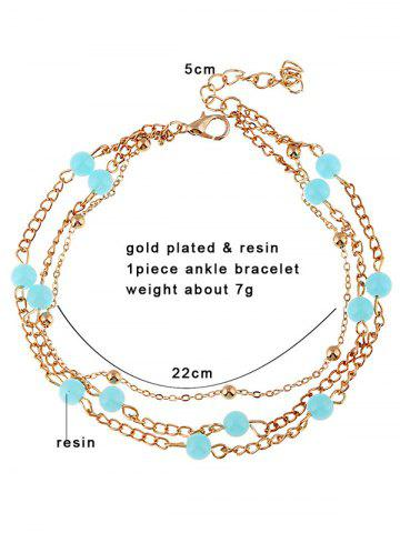 Chic Beads Layered Leg Gemstone Anklets - GOLDEN  Mobile