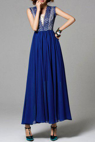 Lace Insert Chiffon Maxi Dress - Blue - 3xl