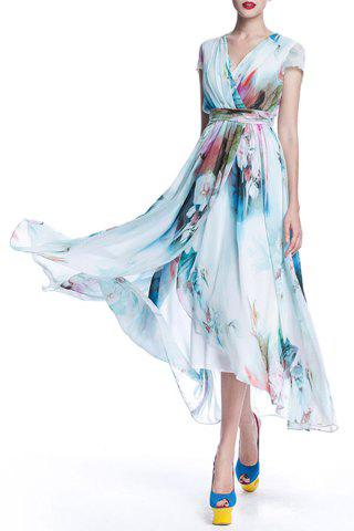 Surplice Long Printed Flowy Dress - Light Blue - 2xl