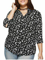Plus Size Feather Printed 3/4 Sleeve Shirt