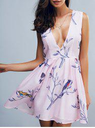 Fashionable Sleeveless Plunging Neck Print Mini Dress - PINK