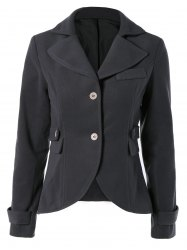 Vintage Lapel Buttoned Elbow Faux Leather Spliced Swallow-Tailed Jacket For Women - DEEP GRAY