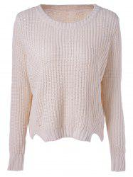 Casual Women's Scoop Neck Basic Solid Color Pullover Knit Sweater -