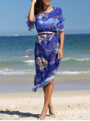 Stunning Flare Sleeve Belted Floral Dress -