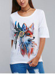 Stylish Wolf Pattern 3D Ink Printing T-Shirt