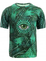 3D Geometric and Print Round Neck Short Sleeve T-Shirt For Men - GREEN L