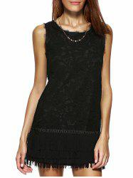 Stunning Sleeveless Pure Color Lace Dress For Women -