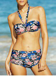 Charming Halter Floral Print Ruched Women's Bikini Set - BLUE L