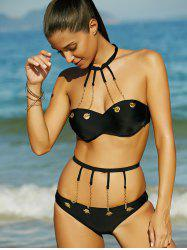 Metal Embellished Strappy Push Up Bikini Set