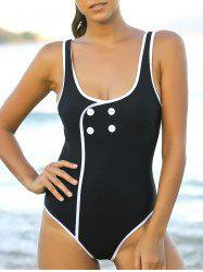 Trendy Button Design Backless One-Piece Women's Swimwear -