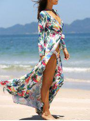 Long Sleeve Bohemian Long Floral Beach Wrap Dress -