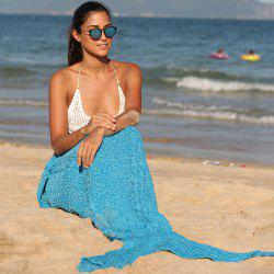 Comfortable Blue Crochet Knitting Mermaid Tail Design Blanket - BLUE
