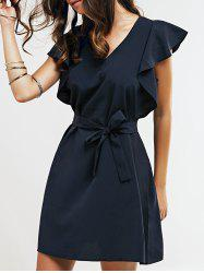 Cap Butterfly Sleeve A-Line Dress - DEEP BLUE