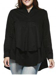 Chic Plus Size Double Layer Asymmetrical Shirt -