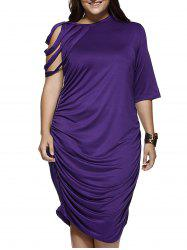 Strappy Sleeve Pure Color Baggy Dress -