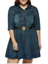 Plus Size Draped Denim Shirt Dress