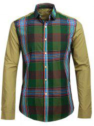 Plaid Print Spliced Turn-down Collar Long Sleeve Shirt For Men