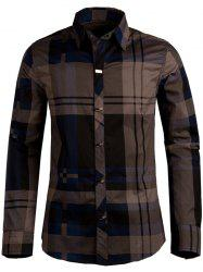Plaid Snap Button Turn-down Collar Long Sleeve Shirt For Men - DEEP BLUE XL