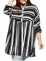 Trendy Plus Size Striped Batwing Sleeve Blouse - BLACK
