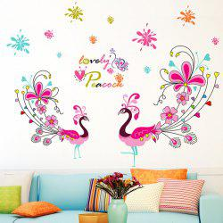 1 Pcs Love Peacock Living Room PVC Removable Wall Stickers