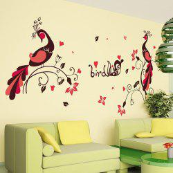 1 Pcs Love Bird Peacock PVC Removable Wall Stickers -