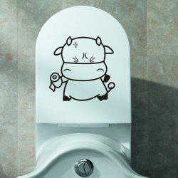 Cartoon Cattle Lovely tissus toilettes Stickers muraux - Noir