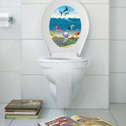 Cartoon Marine Life Toilet Waterproof Wall Art Stickers - COLORMIX