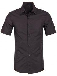 Solid Color Turn Down Collar Short Sleeve Shirt For Men