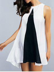Color Block Asymmetrical Chiffon Tank Dress - WHITE AND BLACK